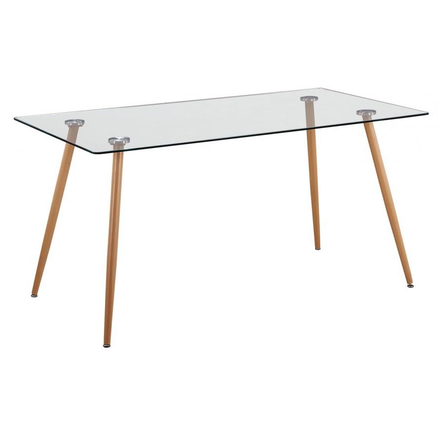 Mesa-de-comedor nórdica-Tapa-cristal-Patas-metálicas-color-cambria